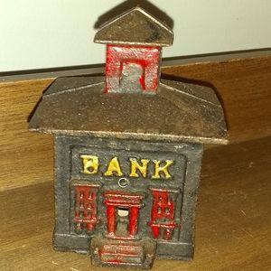 "Vintage 4"" Cast Iron Bank"